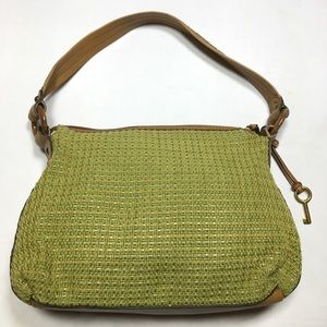 Fossil green weaved shoulder bag with leather trim
